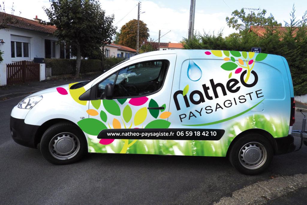 Logo et véhicule commercial créé pour Anthony Allonneau : Nathéo Paysagiste