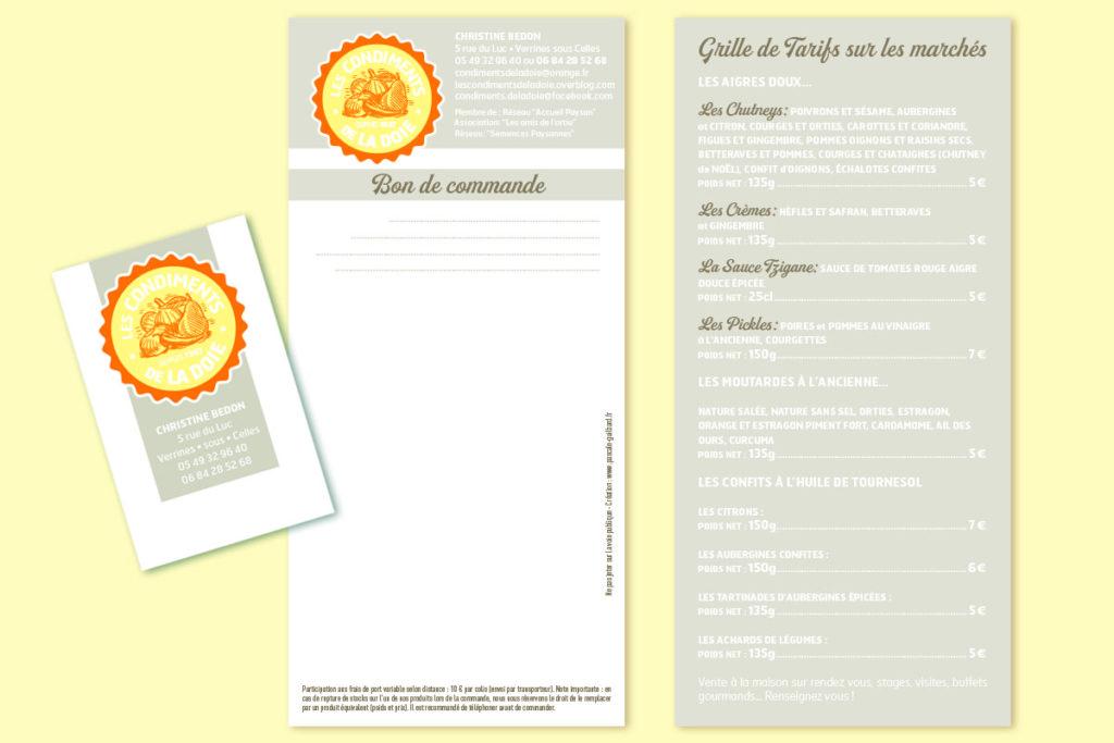 Bon de commande et carte : «Les condiments de la Doie»