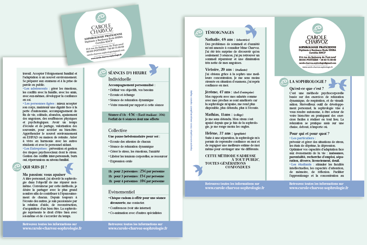 Flyer De Prsentation Et Carte Visite Carole Sophrologue Poitiers 86