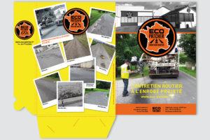 """Pochette de rangement de fichiers pour """"Eco Patcher"""", société de réparations de routes communales et départementales."""
